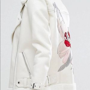 River Island Faux Leather Jacket Back Embroidered